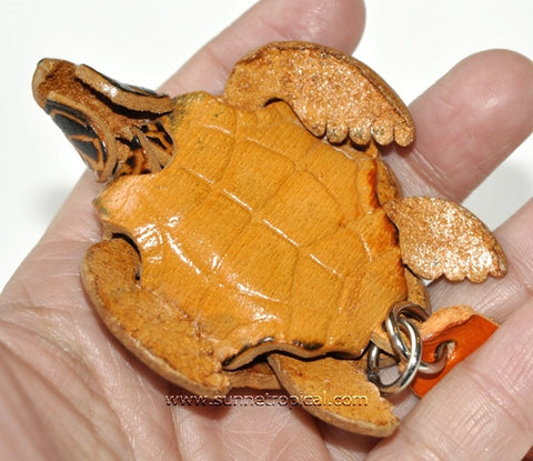 Turtle Tortoise Terrapin 3D Leather Key Chain (05 Brown)