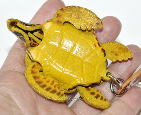 Turtle Tortoise Terrapin 3D Leather Key Chain (05 Black)