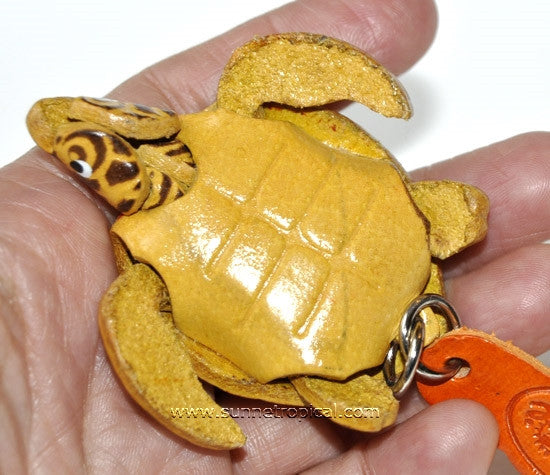 Turtle Tortoise Terrapin 3D Leather Key Chain (6 Brown)