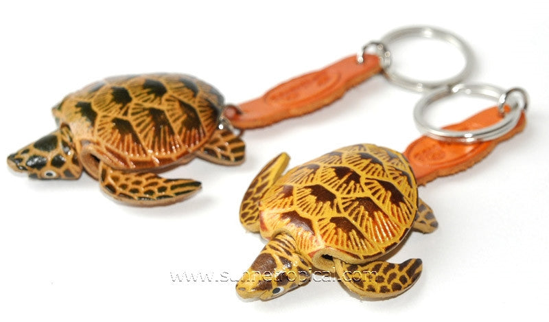 Turtle Tortoise Terrapin 3D Leather Key Chain (6 Black)
