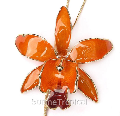 Cattleya Queen Real Orchid Jewelry Slider Necklace Gold 24K (Orange Kiss)