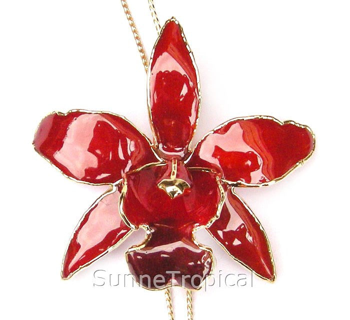 Cattleya Queen Real Orchid Jewelry Slider Necklace Gold 24K (Red)