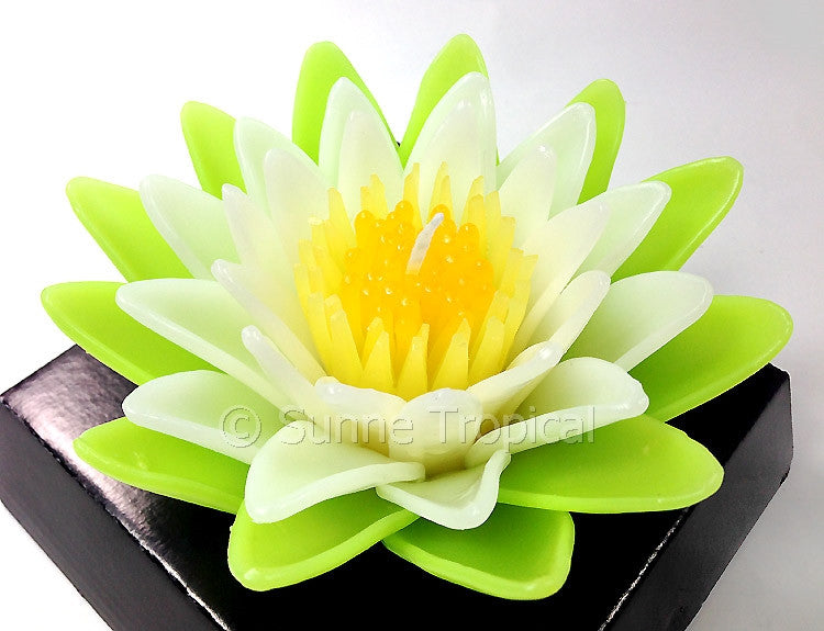 Flower Candles 5 Inch - Water Lily Lotus (Green/White)