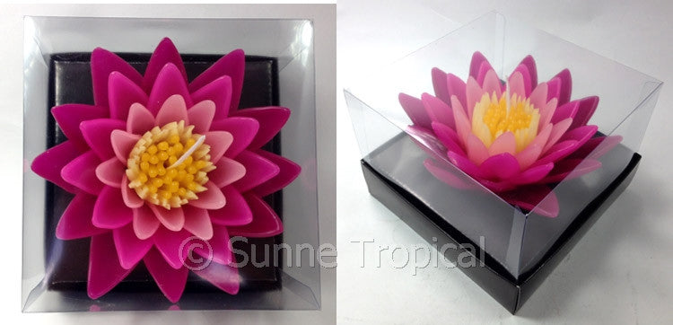 Flower Candles 5 Inch - Water Lily Lotus (Dark & LIght Pink)