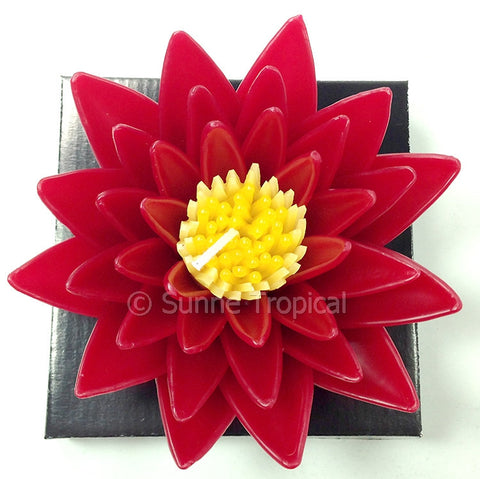Flower Candles 5 Inch - Water Lily Lotus (Red)