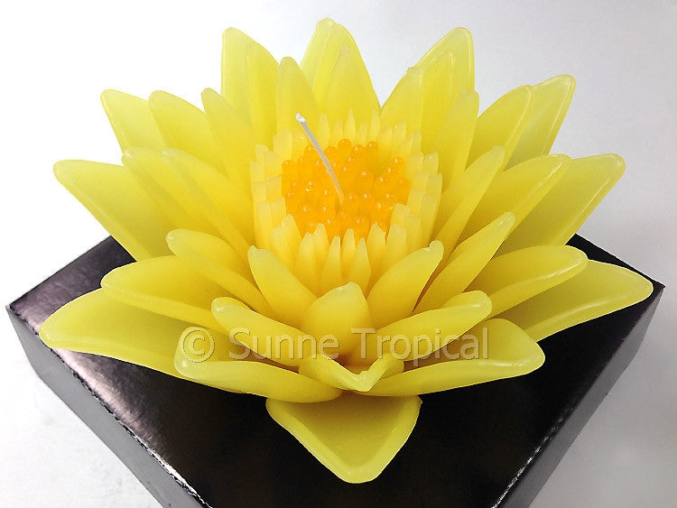 Flower Candles 5 Inch - Water Lily Lotus (Yellow)