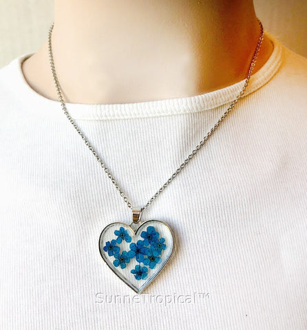 Forget-Me-Not Flower GOLD plated HEART Pendant Necklace - BLUE