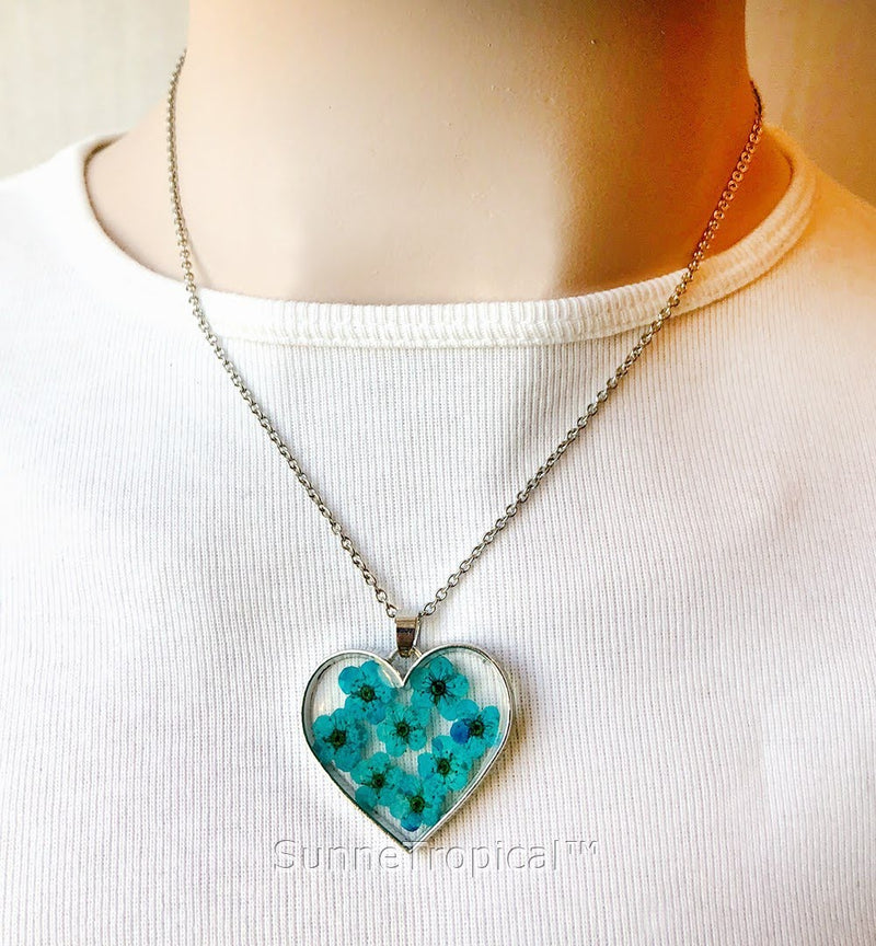 Forget-Me-Not Flower GOLD plated HEART Pendant Necklace - TURQUOISE