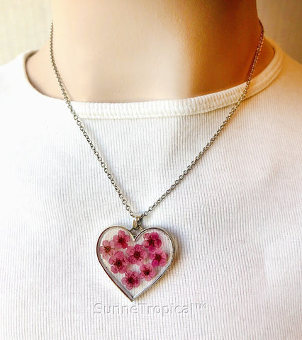 Forget-Me-Not Flower GOLD plated HEART Pendant Necklace - FUCHSIA