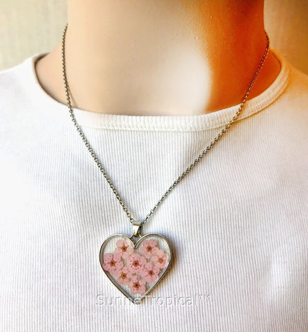 Forget-Me-Not Flower GOLD plated HEART Pendant Necklace - PEACH (Baby Pink)