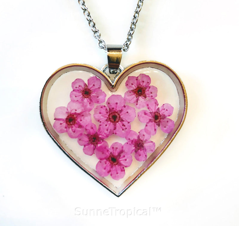 Forget-Me-Not Flower GOLD plated HEART Pendant Necklace - PINK