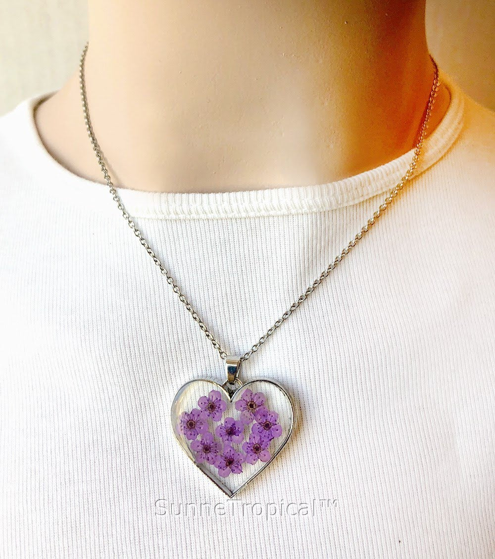 necklace iris pendant flower purple