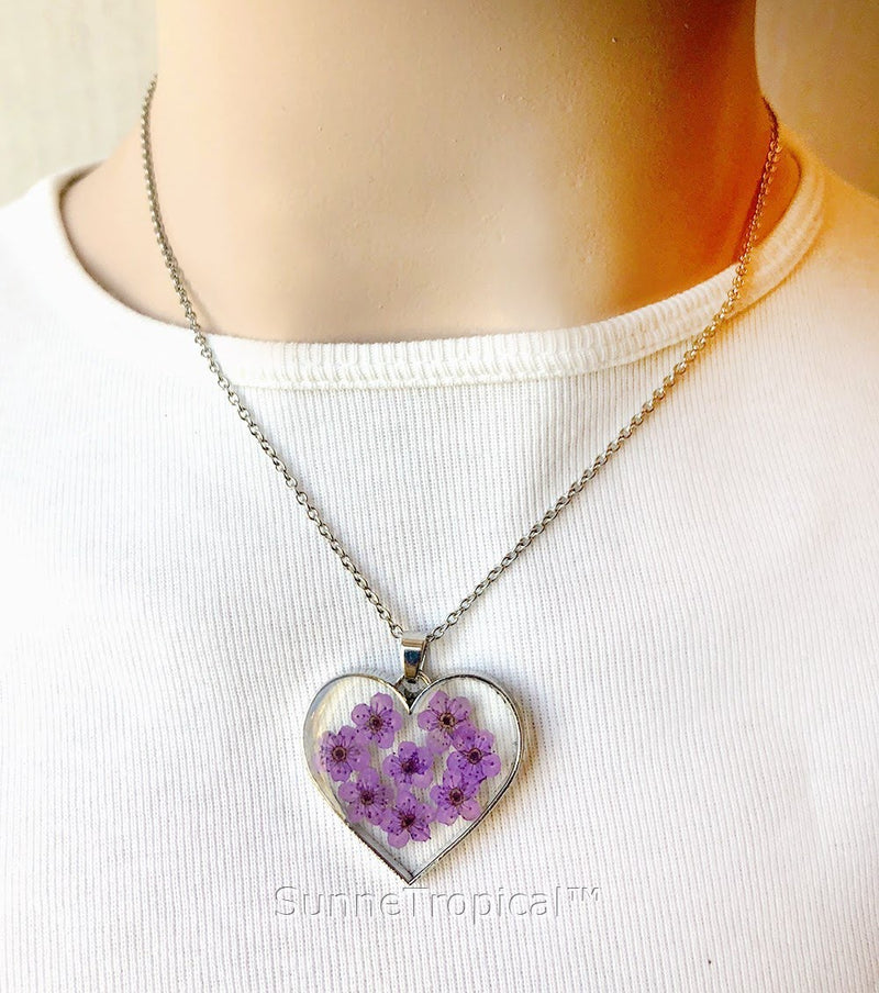 Forget-Me-Not Flower GOLD plated PURPLE HEART Pendant Necklace - Purple