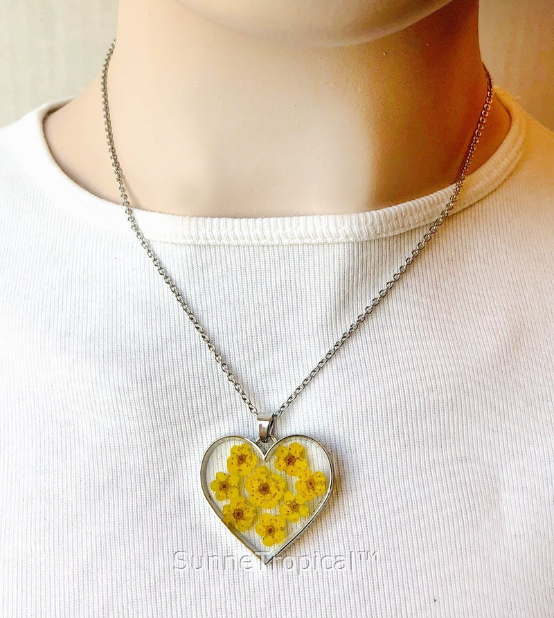 Forget-Me-Not Flower GOLD plated HEART Pendant Necklace - YELLOW