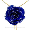 NAVY blue Real Flower Jewelry Slider Necklace Gold Plated 24K