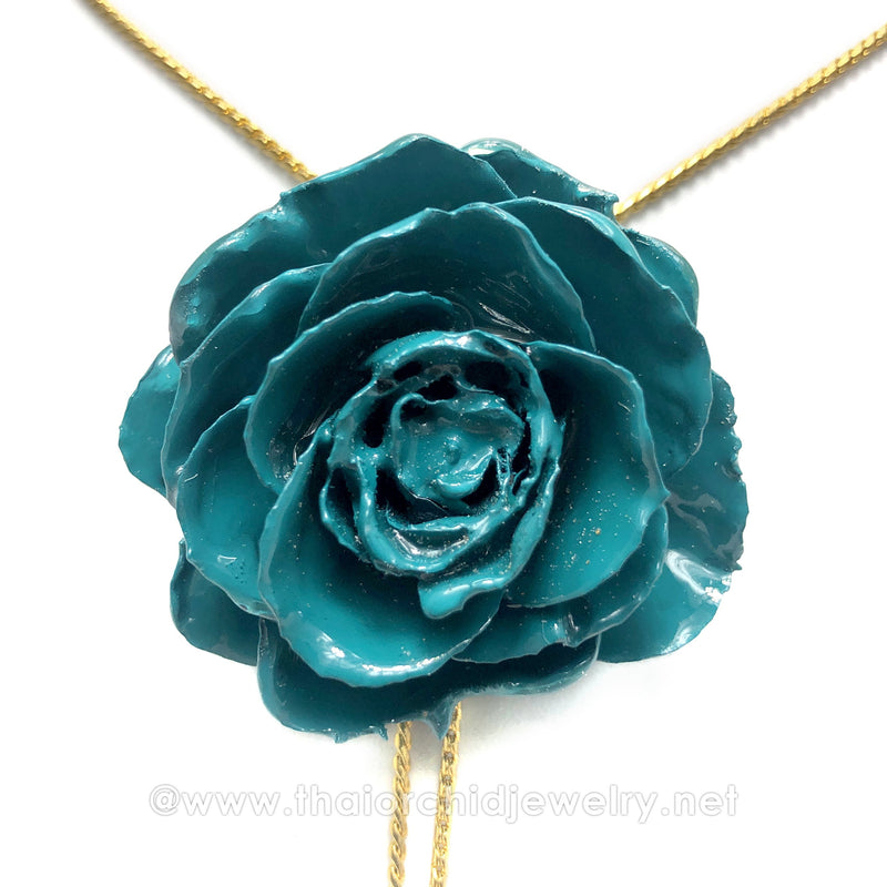 Turquoise Real Flower Jewelry Slider Necklace Gold Plated 24K