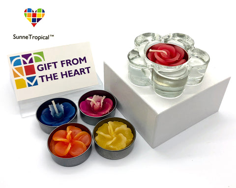 Surprise Pack 5 Flowers Tealight Candles GIFT SET with glass candle holder (Multi-Color)