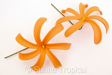 ORANGE Tahitian Tiare foam flowers 3.5 inch hair pick (Pack 10)