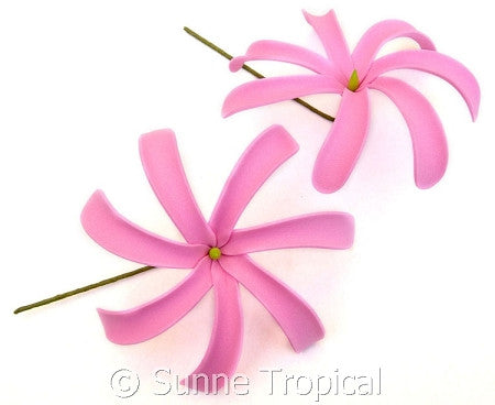PINK Tahitian Tiare foam flowers 3.5 inch hair pick (Pack 10)