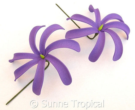 PURPLE Tahitian Tiare foam flowers 3.5 inch hair pick (Pack 10)