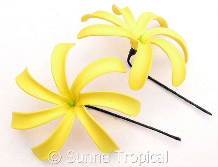 YELLOW Tahitian Tiare foam flowers 3.5 inch hair pick (Pack 10)
