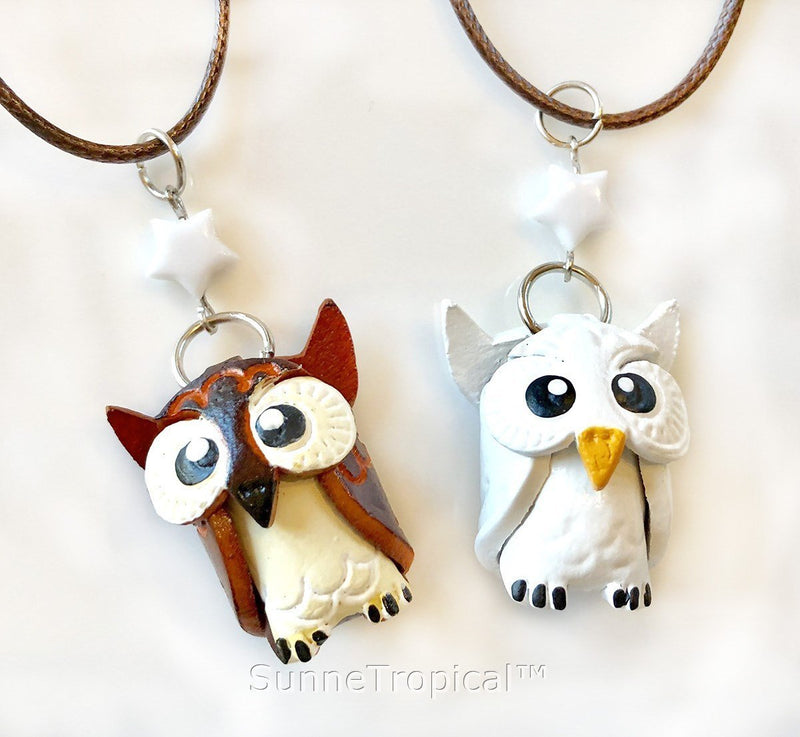 Leather handmade pendant necklace OWL