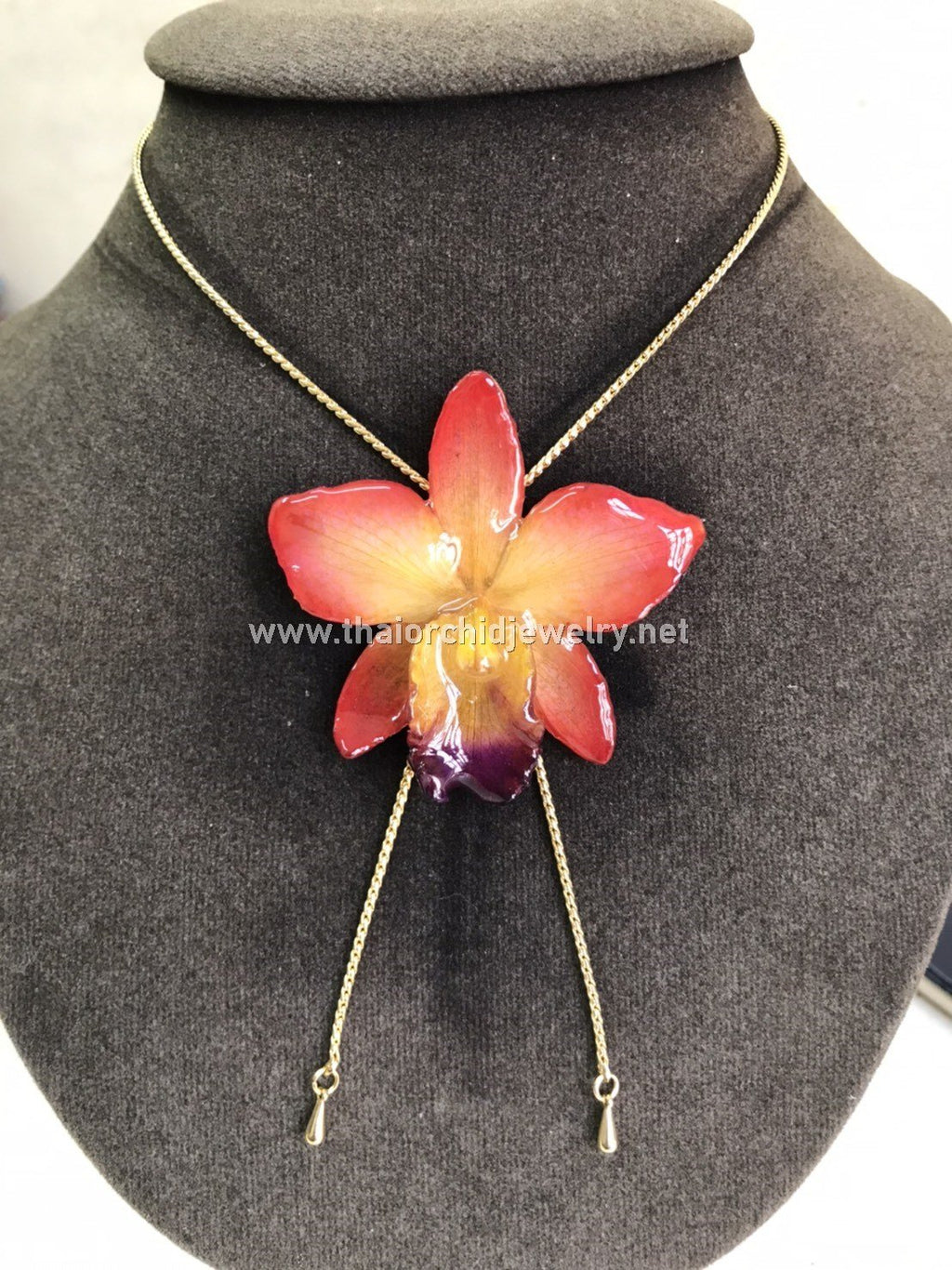Cattleya Orchid Jewelry Slider Necklace Gold Plated 24K - Orange Yellow Sun Kiss