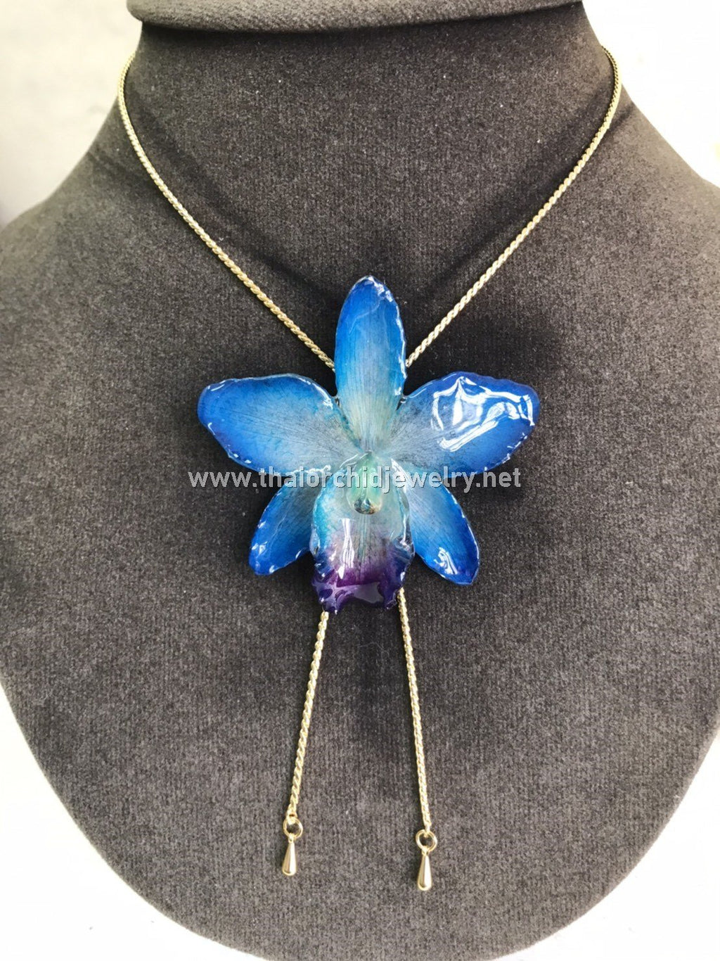 Cattleya Orchid Jewelry Slider Necklace Gold Plated 24K - BLUE SKY