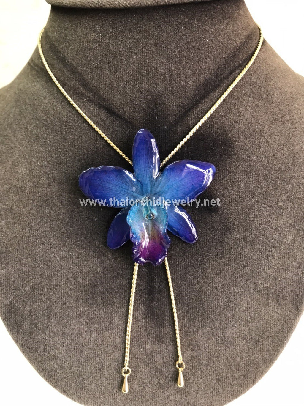 Cattleya Orchid Jewelry Slider Necklace Gold Plated 24K - NAVY