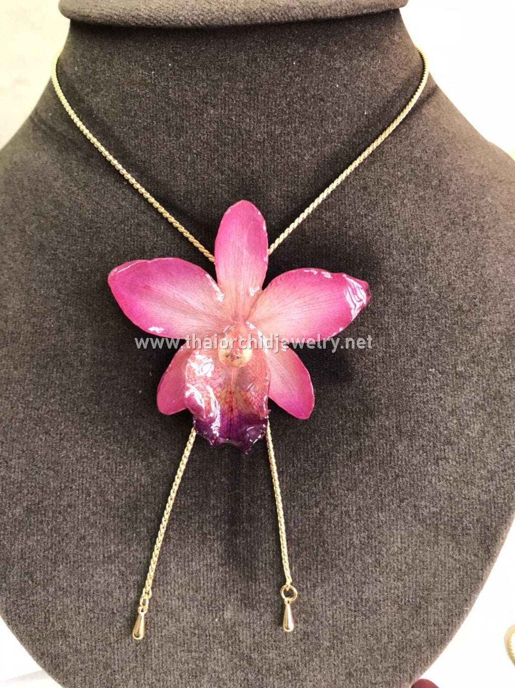 Cattleya Orchid Jewelry Slider Necklace Gold Plated 24K - PINK