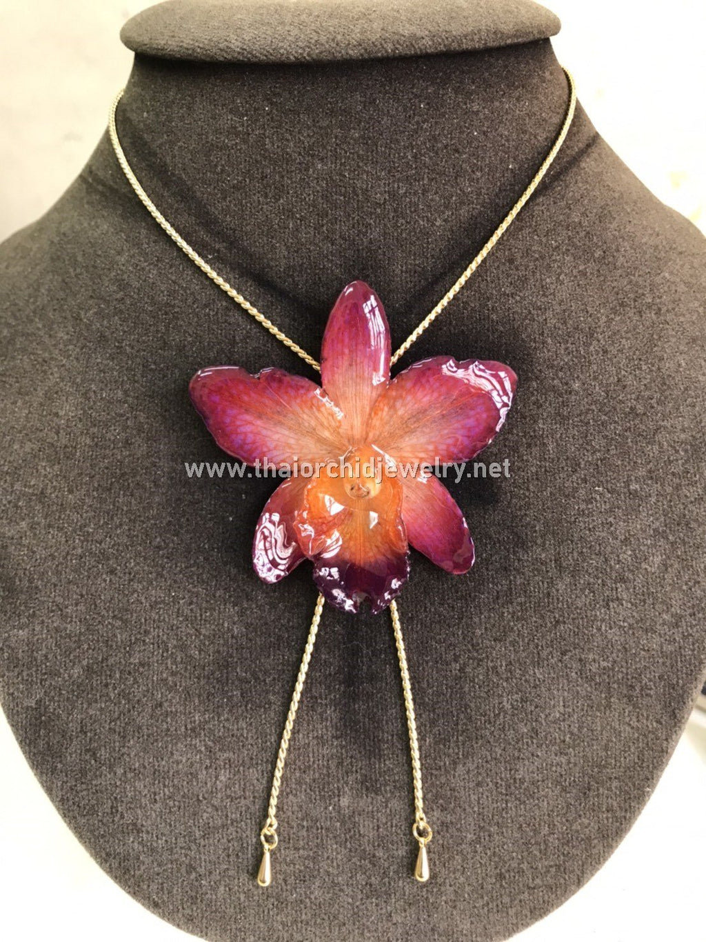 Cattleya Orchid Jewelry Slider Necklace Gold Plated 24K - Pink Sassy Orange