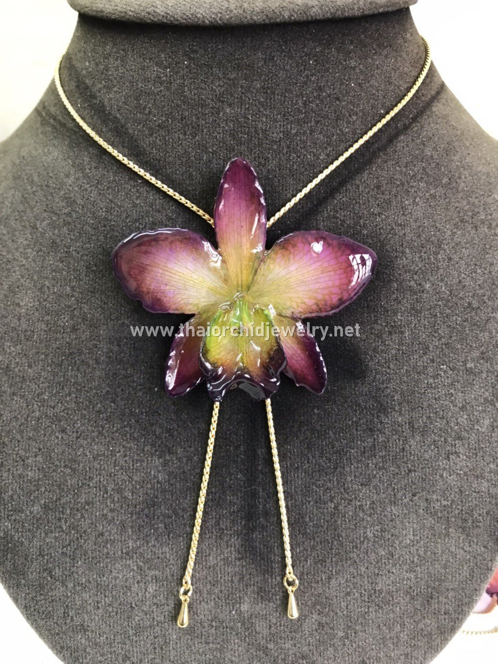Cattleya Orchid Jewelry Slider Necklace Gold Plated 24K - Purple Green