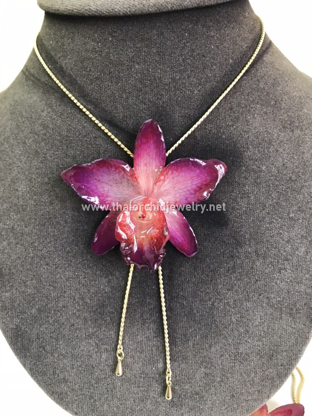 Cattleya Orchid Jewelry Slider Necklace Gold Plated 24K - Purple Fuchsia
