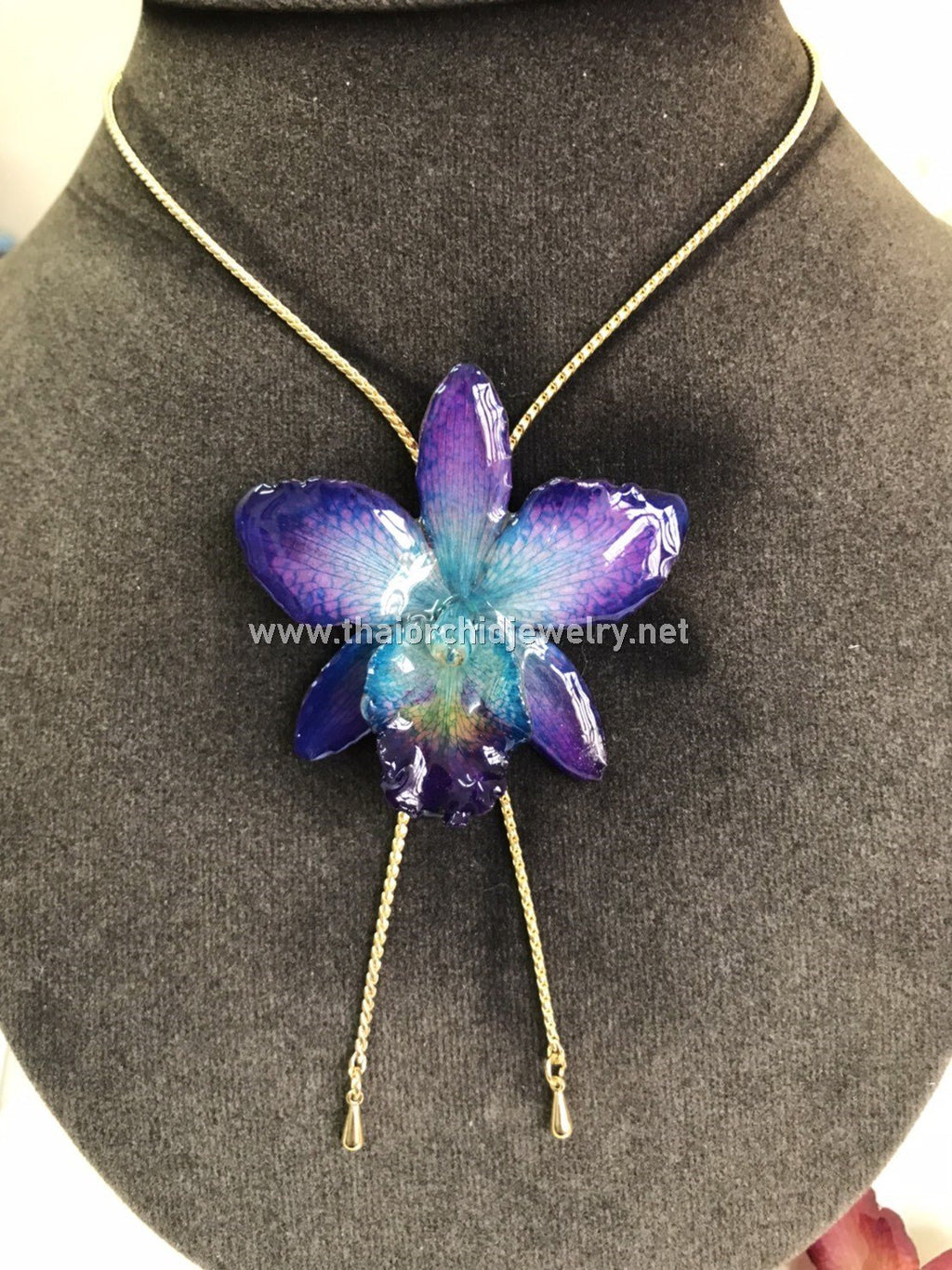 Cattleya Orchid Jewelry Slider Necklace Gold Plated 24K - Purple Turquoise