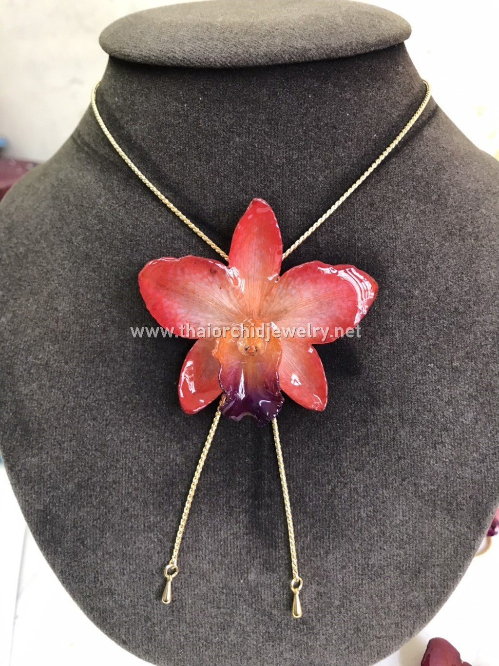 Cattleya Orchid Jewelry Slider Necklace Gold Plated 24K - RED ORANGE