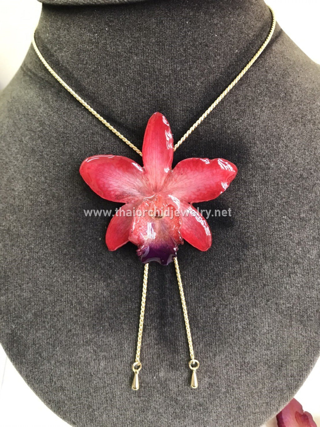 Cattleya Orchid Jewelry Slider Necklace Gold Plated 24K - RED RUBY