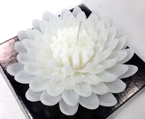 Flower Candles 5 Inch - Chrysanthemums MUM (White)