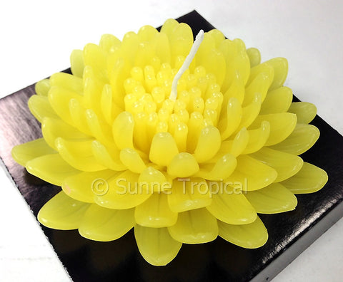 Flower Candles 5 Inch - Chrysanthemums MUM (Yellow)