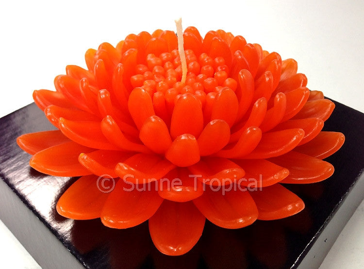 Flower Candles 5 Inch - Chrysanthemums MUM (Orange Kiss)