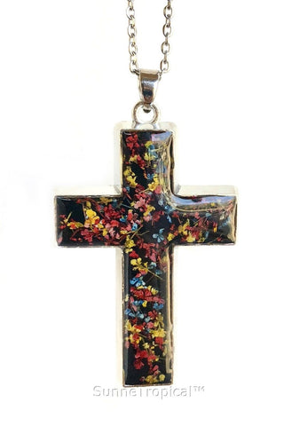 "Gold Plated Real Pressed Flower Jewelry Cross Pendant Necklace 18"" extendable - Multi-Colored LACE Flower BLACK"