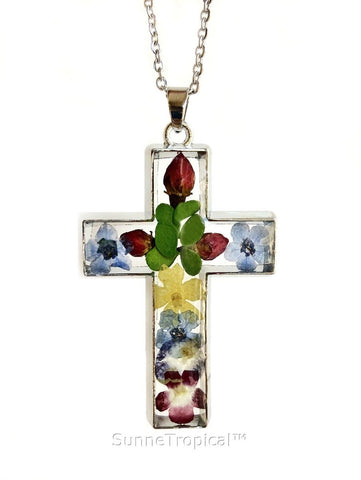"Gold Plated Real Pressed Flower Jewelry Cross Pendant Necklace 18"" extendable - Multi-Colored"