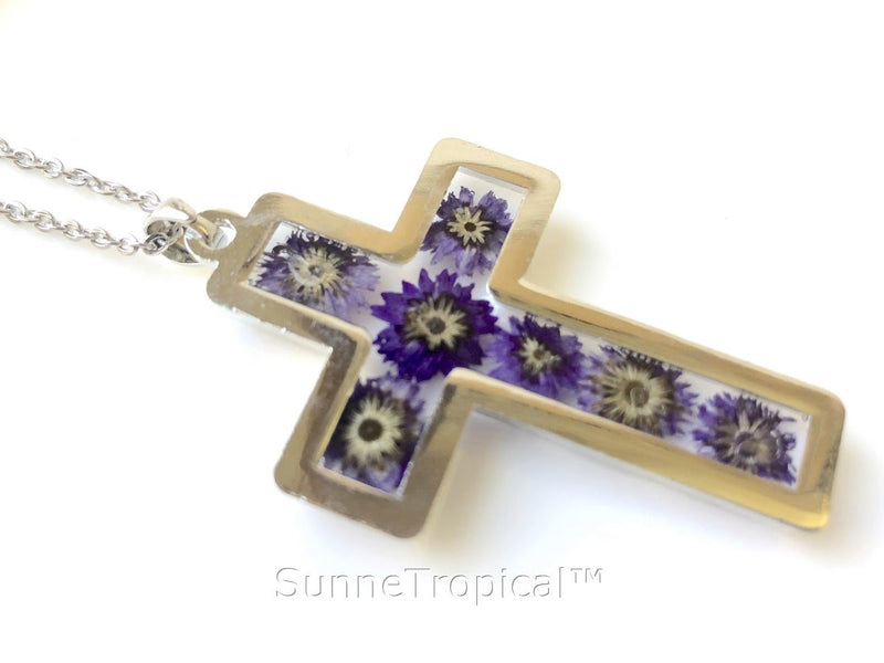 "Gold Plated Anaphalis Sinica Flower Real Pressed Flower Jewelry Cross Pendant Necklace 18"" extendable - PURPLE"