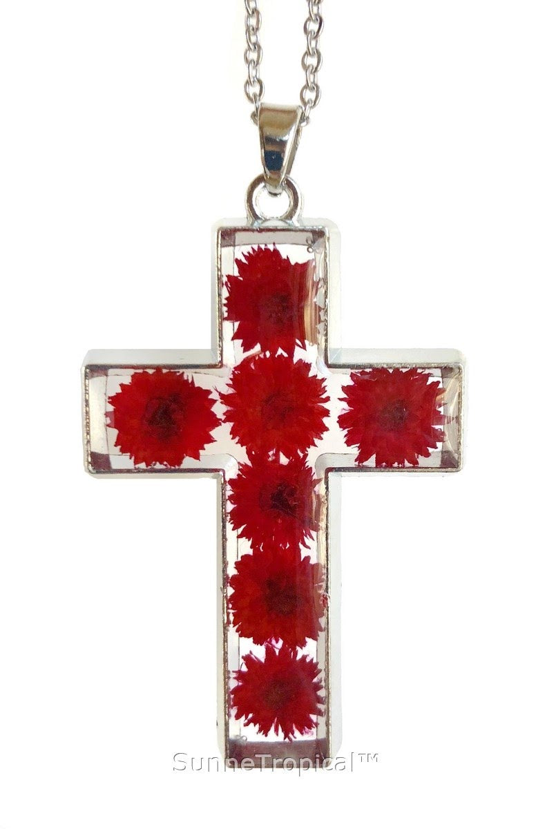 "Gold Plated Anaphalis Sinica Flower Real Pressed Flower Jewelry Cross Pendant Necklace 18"" extendable - RED Cross"