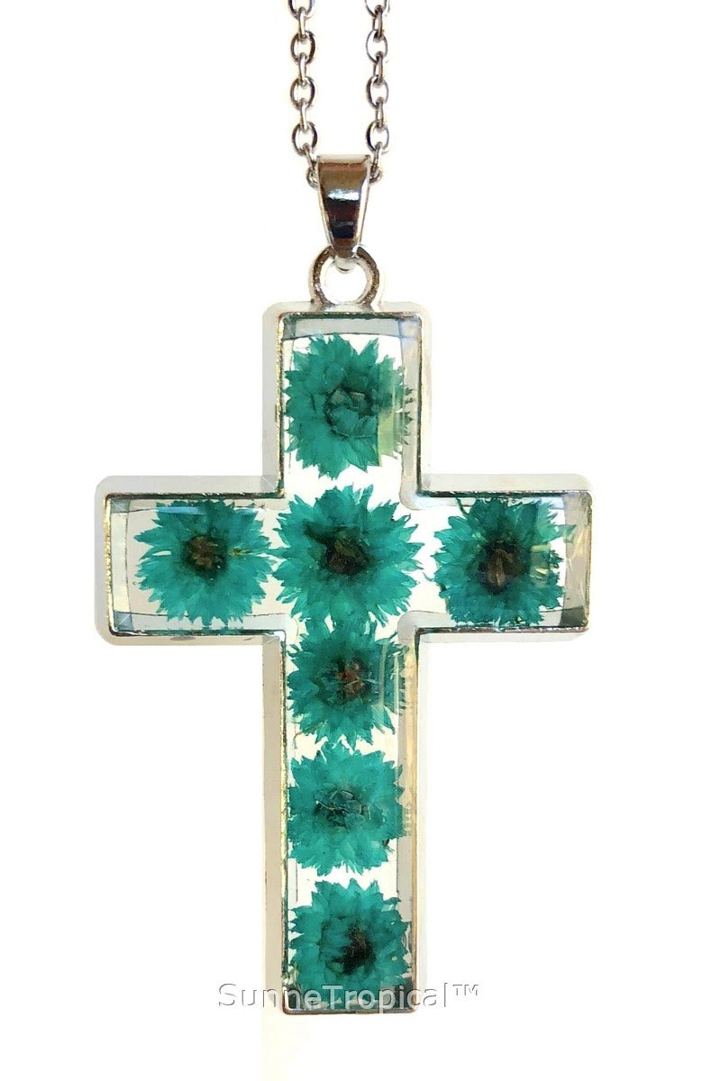 "Gold Plated Anaphalis Sinica Flower Real Pressed Flower Jewelry Cross Pendant Necklace 18"" extendable - Turquoise"