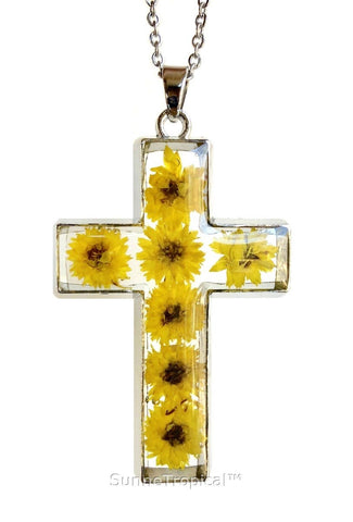 "Gold Plated Anaphalis Sinica Flower Real Pressed Flower Jewelry Cross Pendant Necklace 18"" extendable - YELLOW Summer"