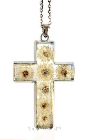 "Gold Plated Anaphalis Sinica Flower Real Pressed Flower Jewelry Cross Pendant Necklace 18"" extendable - White"