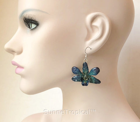 Dendrobium orchid real flower jewelry earring - NAVY