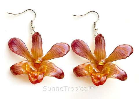 Dendrobium orchid real flower jewelry earring - Orange Purple