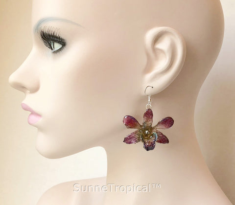 Dendrobium orchid real flower jewelry earring - Purple