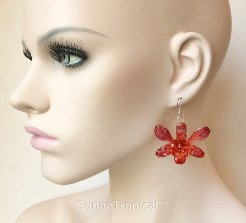 Dendrobium orchid real flower jewelry earring - RED